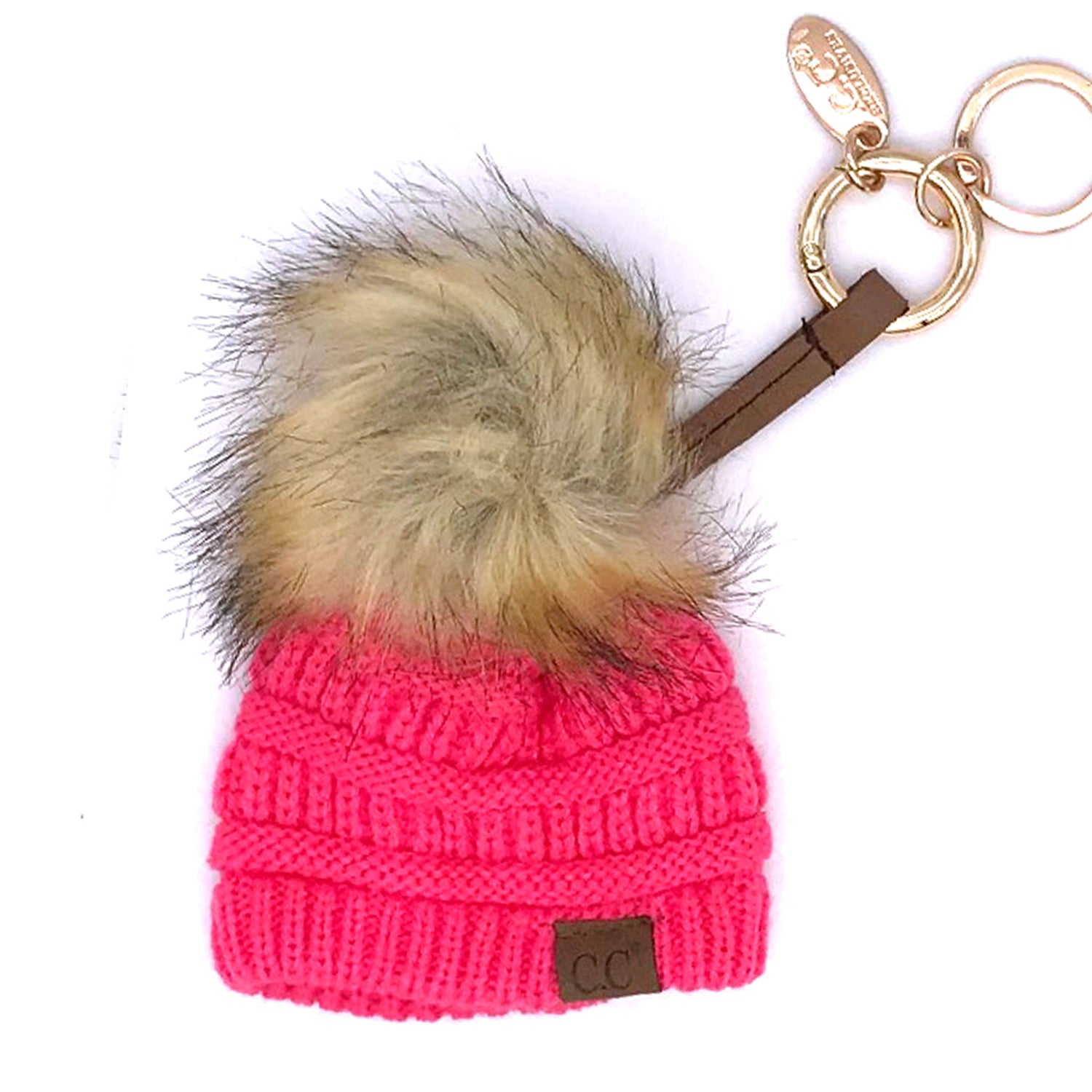 KB-43 Keychain W/FAUX FUR POM-New Candy Pink
