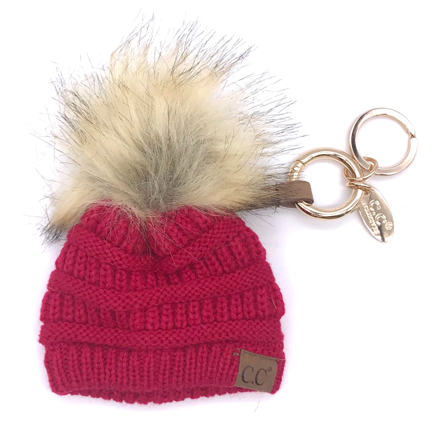 KB-43 Keychain W/FAUX FUR POM -Hot Pink