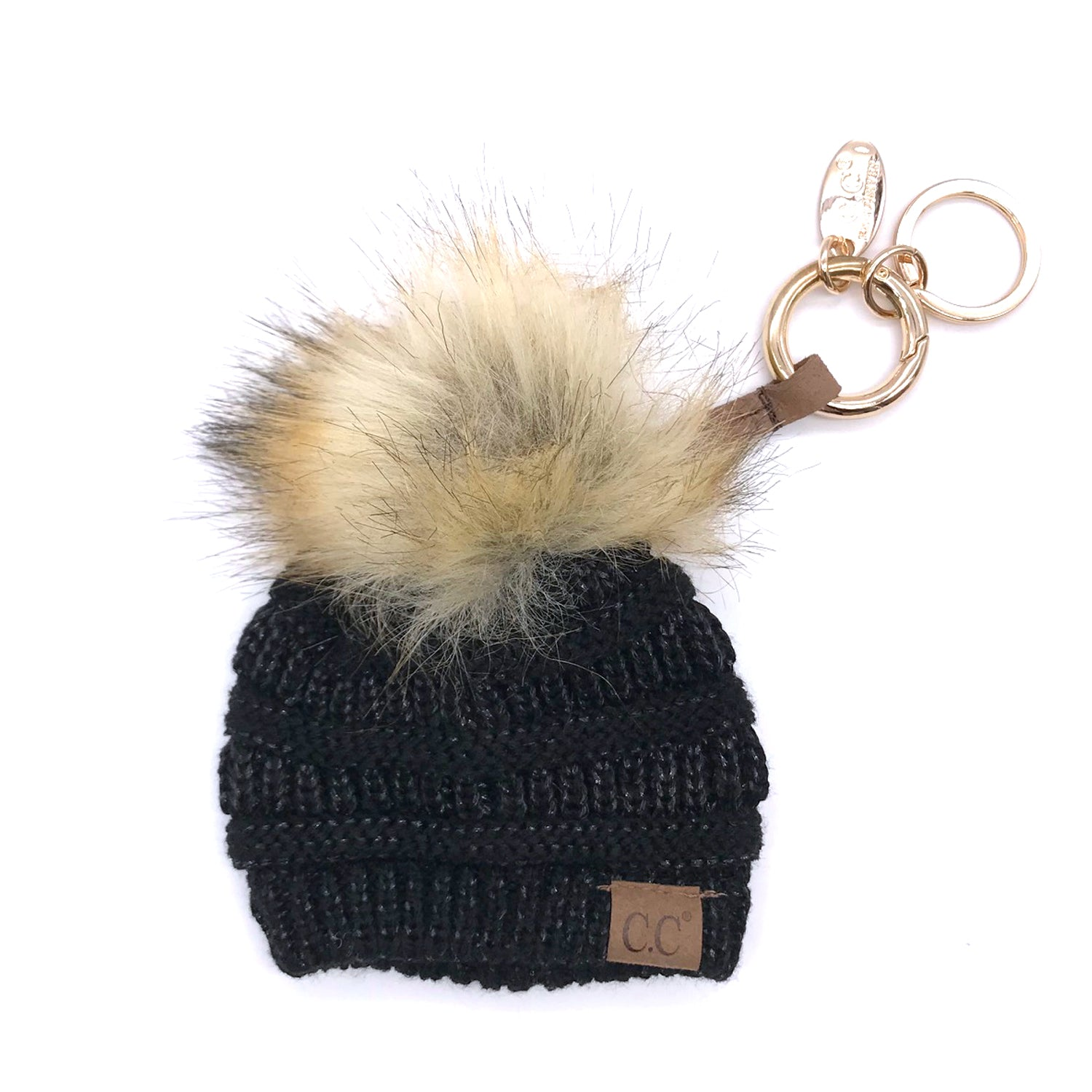 KB-43 Keychain W/FAUX FUR POM-Black Metallic