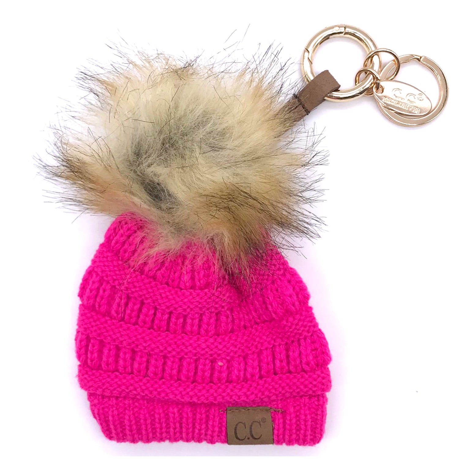 KB-43 Keychain W/FAUX FUR POM -New Hot Pink