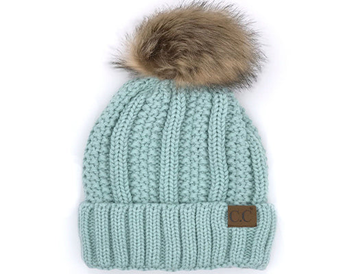 KIDS-820-MINT SHERPA LINED BEANIE W/FAUX FUR POM - MINT