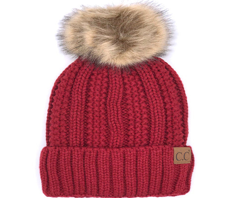 KIDS-820-RED SHERPA LINED BEANIE W/FAUX FUR POM - RED