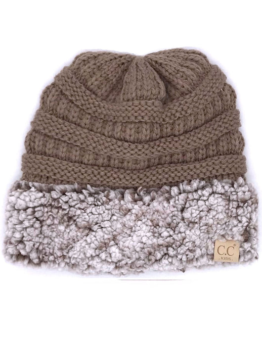 KID-88 C.C Youth Sherpa Beanie Taupe Heather Brown