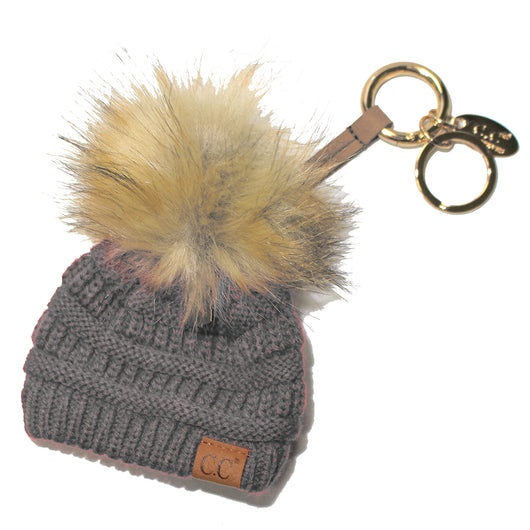 KB-43 Keychain W/FAUX FUR POM -Light Melange Grey