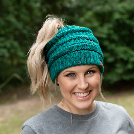 MB-33 MESSY BUN SPECKLED BEANIE SEAGREEN
