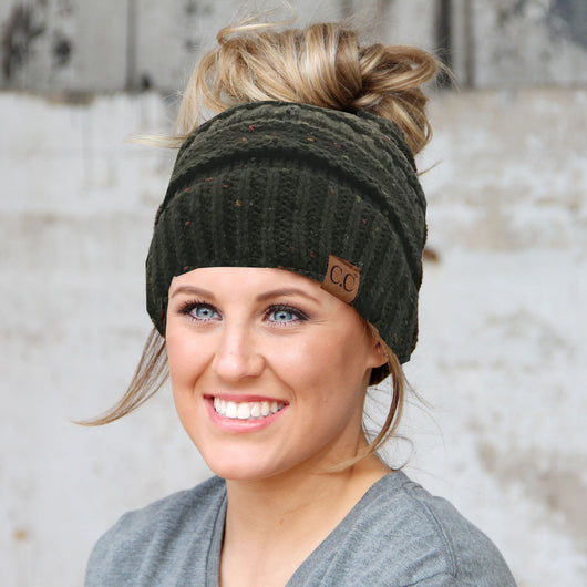 MB-33 MESSY BUN SPECKLED BEANIE NEW OLIVE