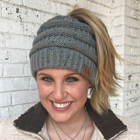 MB-33 MESSY BUN SPECKLED BEANIE NATURAL GREY