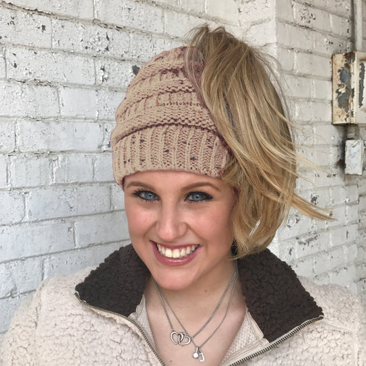 MB-33 MESSY BUN SPECKLED BEANIE TAUPE