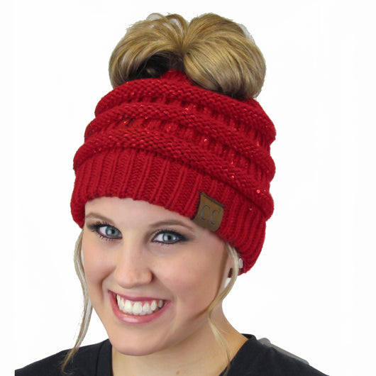MB-730 SEQUIN BEANIE RED