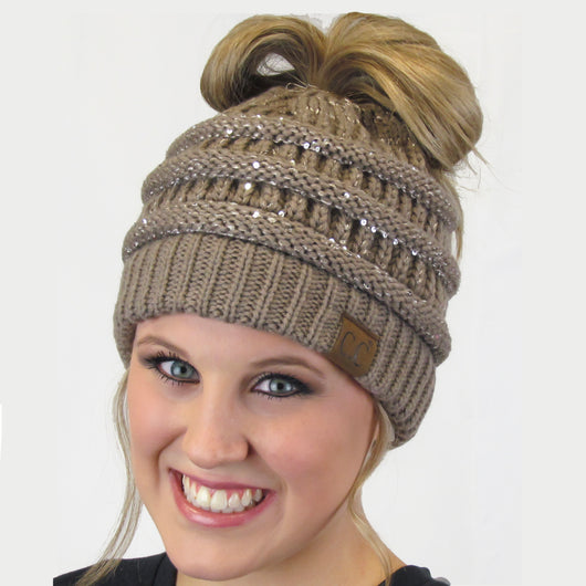 MB-730 SEQUIN BEANIE TAUPE