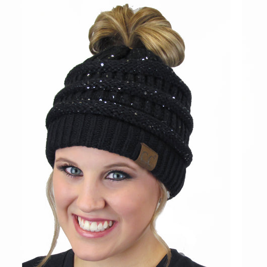 MB-730 SEQUIN BEANIE BLACK