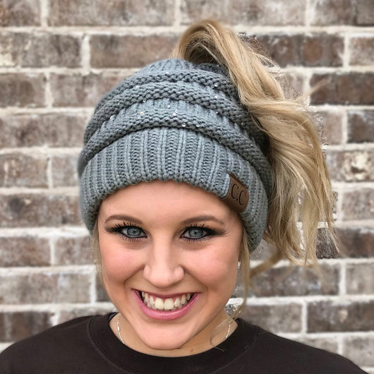MB-730 SEQUIN BEANIE NATURAL GREY