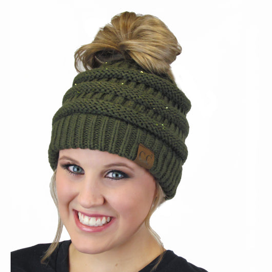 MB-730 SEQUIN BEANIE NEW OLIVE