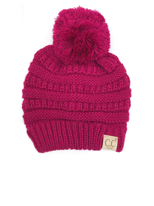 YJ-847 POM Hot Pink Kid Beanie