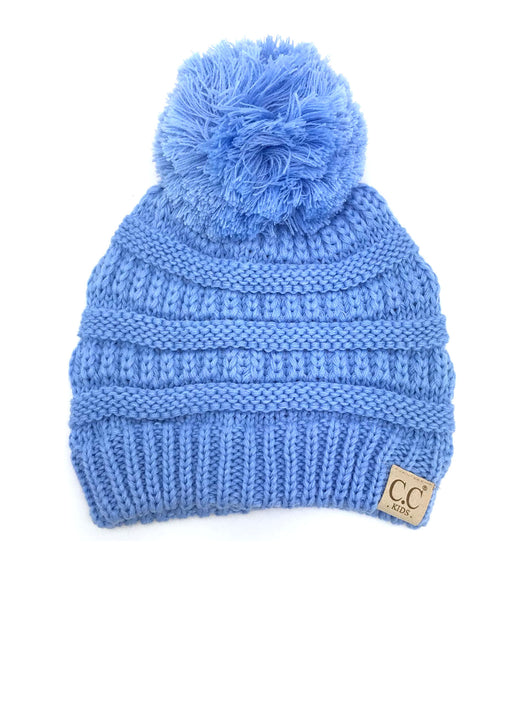 YJ-847 POM Pale Blue Kid Beanie