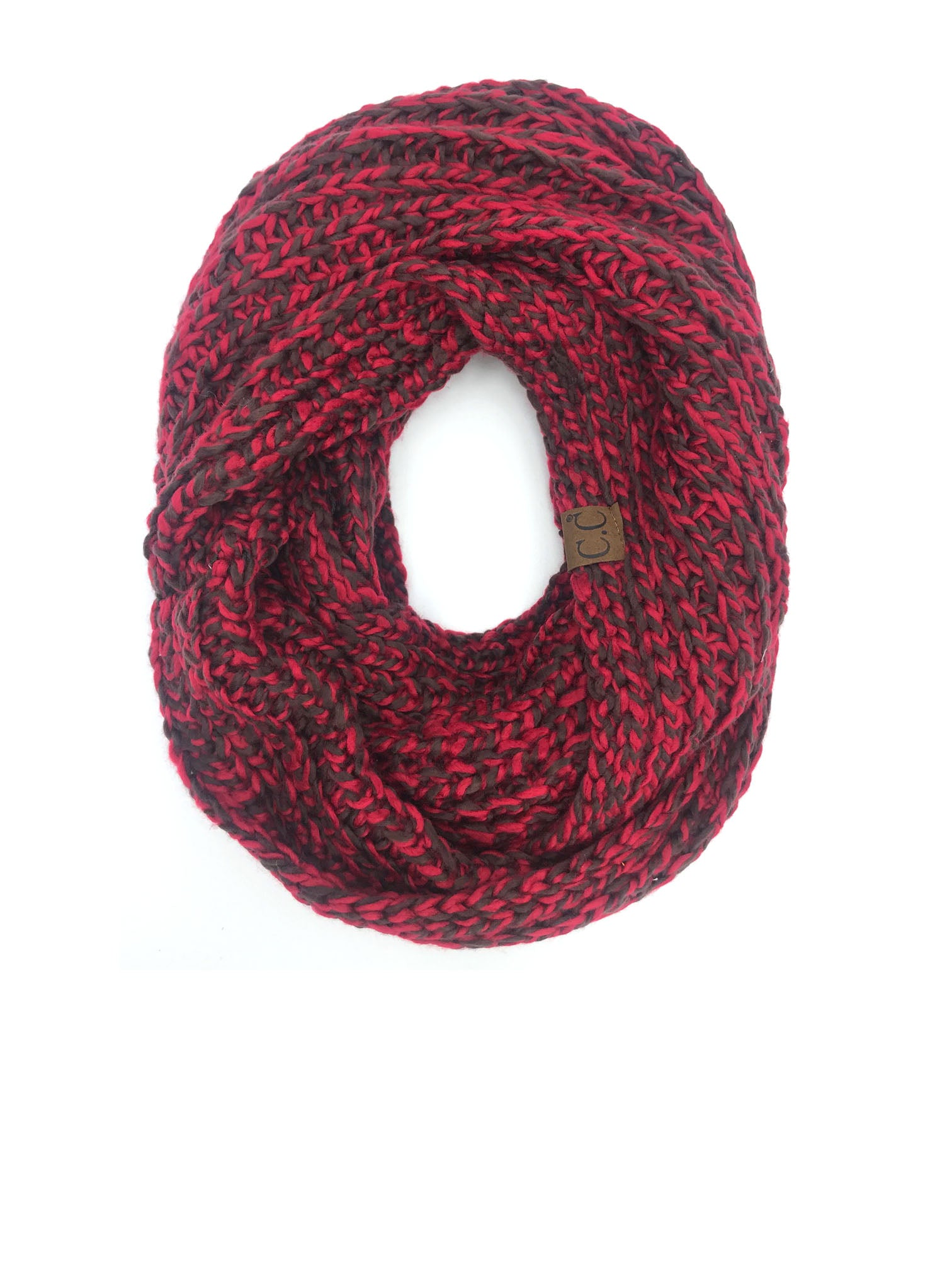 SF-123 BURGUNDY COFFEE CROCHET SCARF