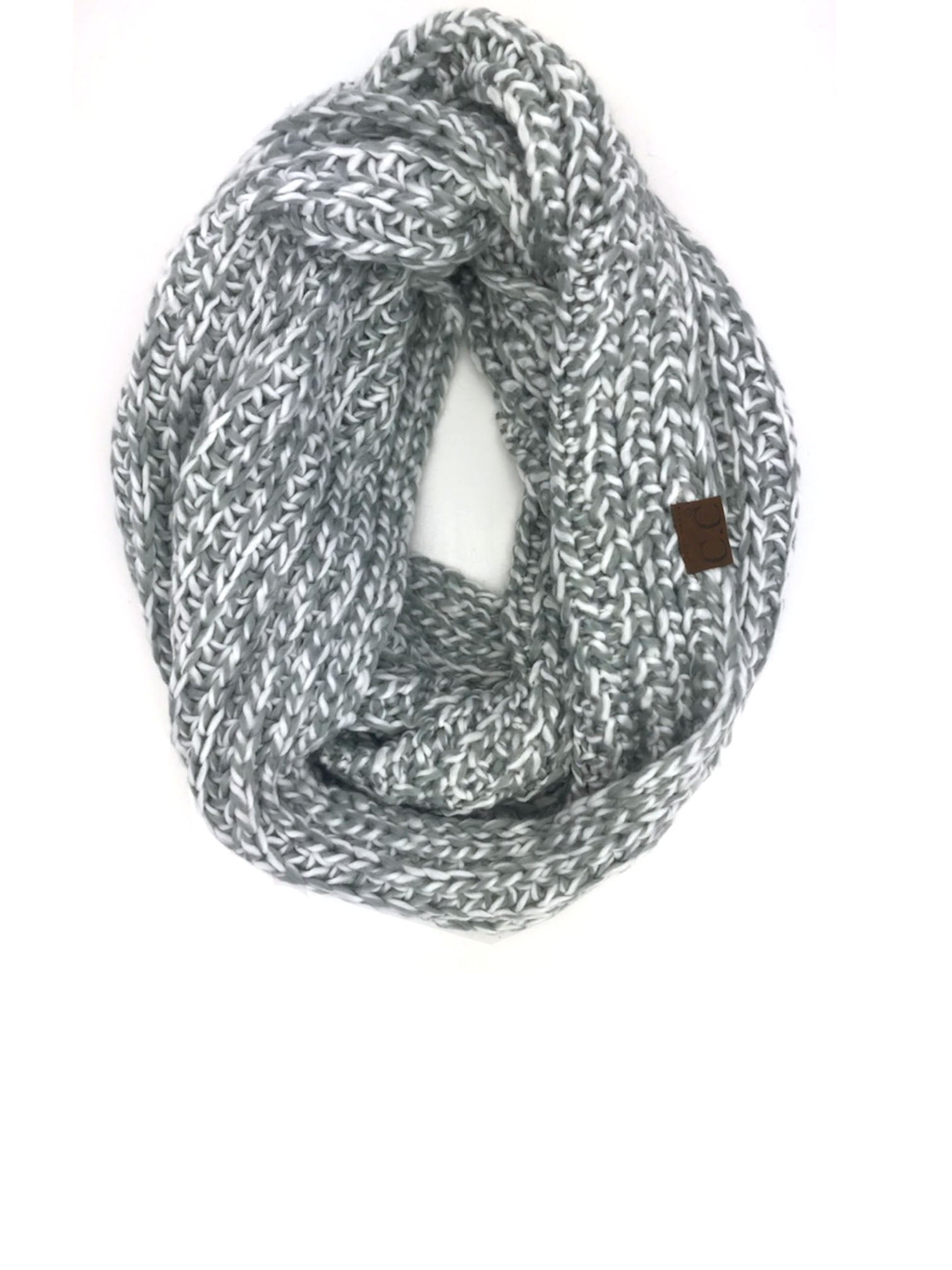 SF-123 IVORY NATURAL GREY CROCHET SCARF