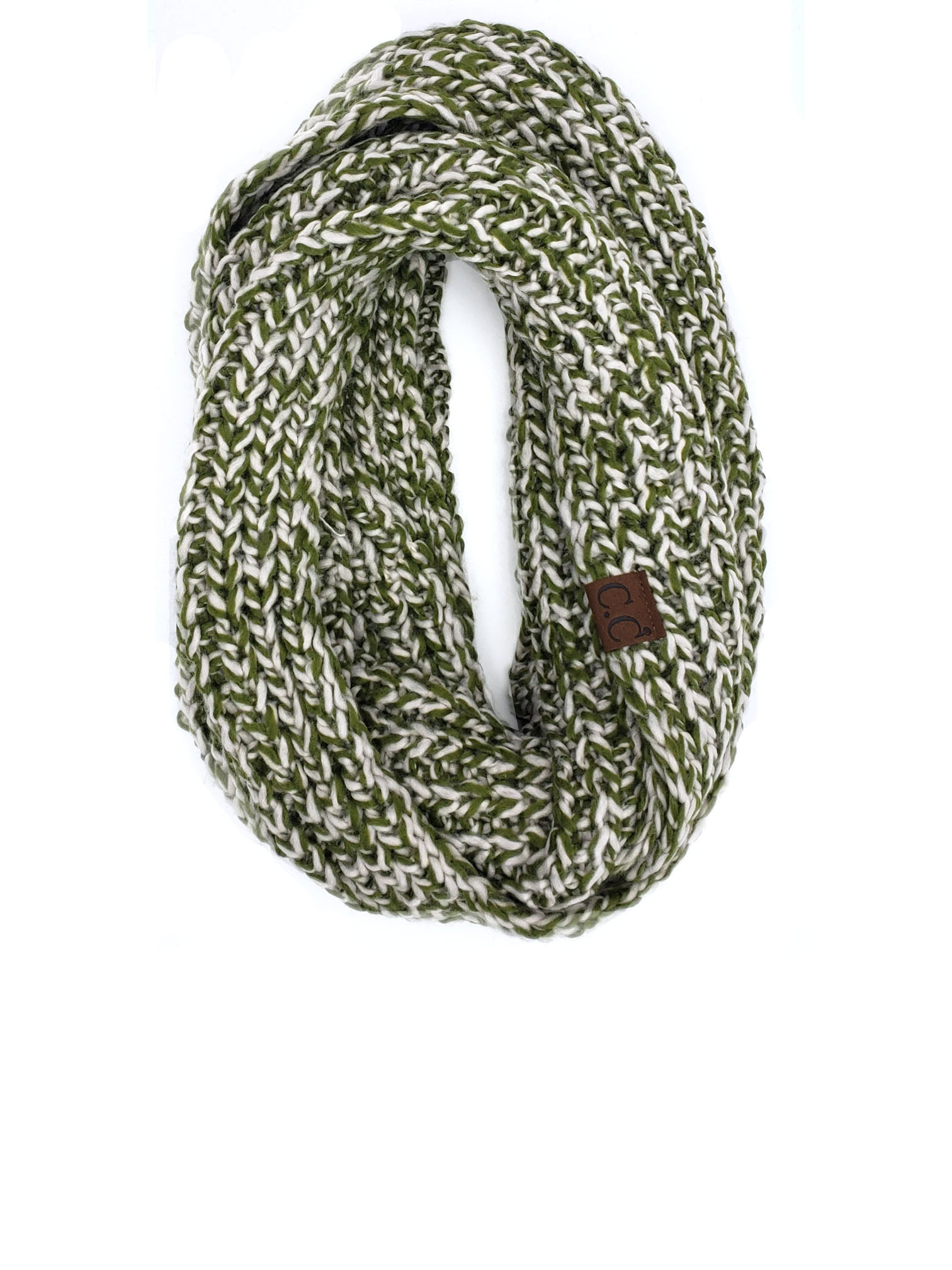 SF-123 OLIVE NATURAL CROCHET SCARF