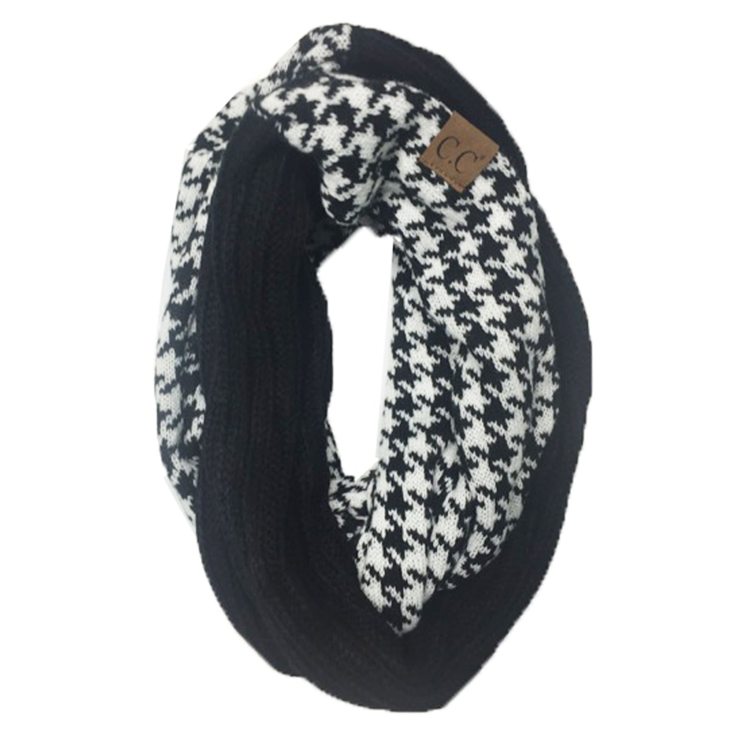 SF-12 HOUNDSTOOTH BLACK SCARF