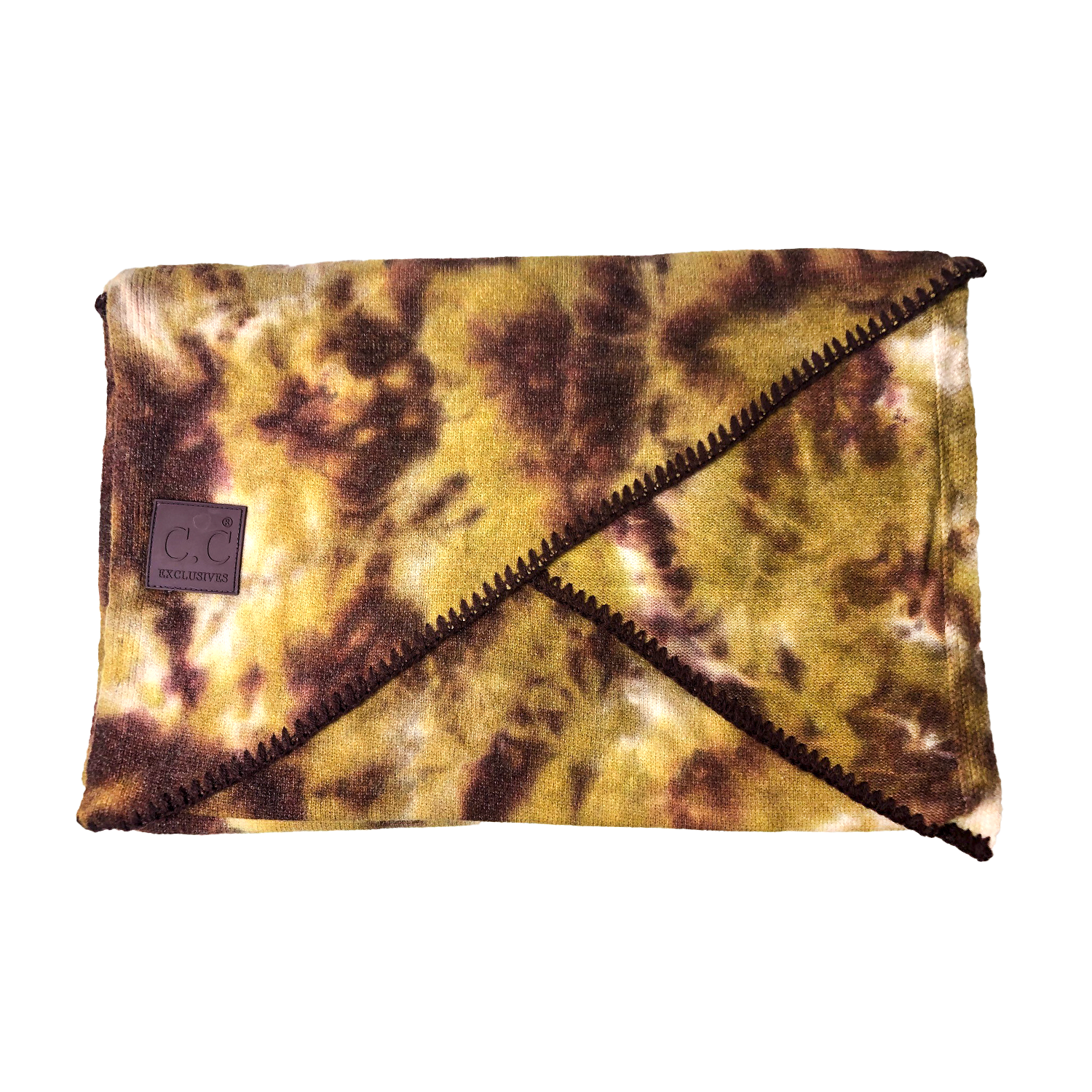 SF-7380 Tie Dye Scarf with C.C Rubber Patch - Antique Moss/Wild Ginger
