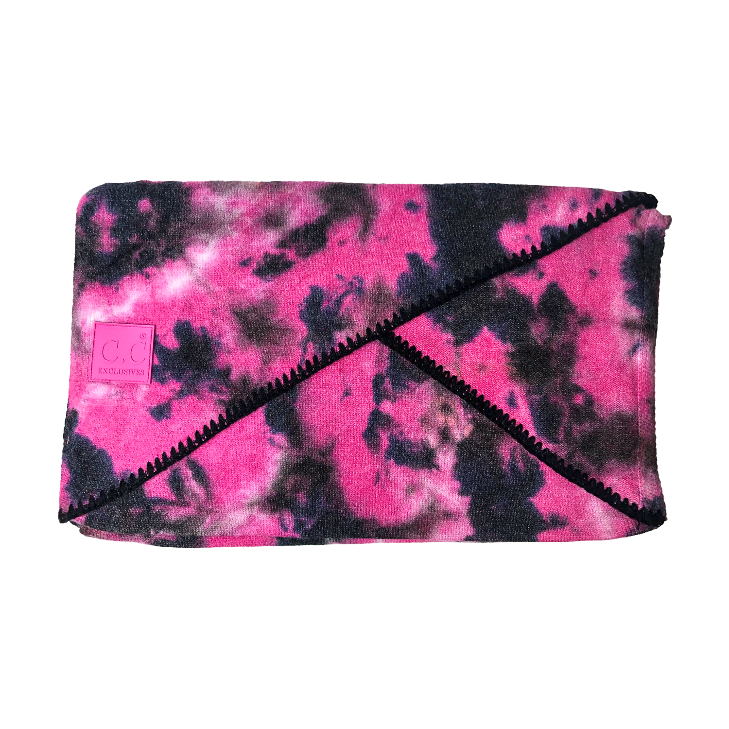 SF-7380 Tie Dye Scarf with C.C Rubber Patch - Black/Hot Pink