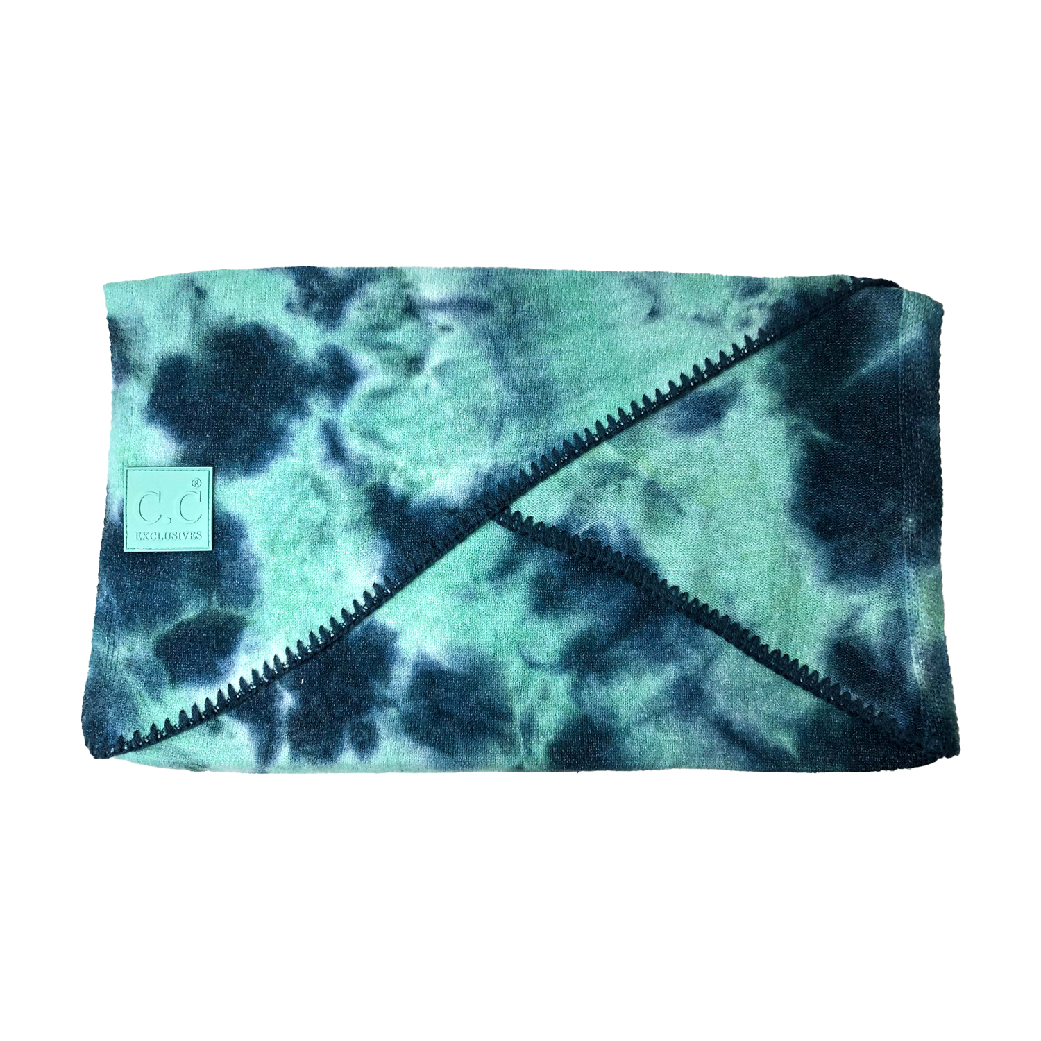 SF-7380 Tie Dye Scarf with C.C Rubber Patch - Deep Teal/Sea Green