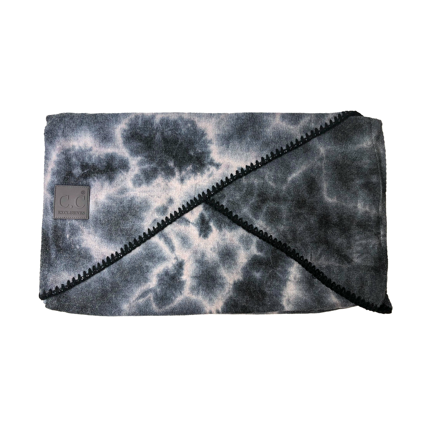 SF-7380 Tie Dye Scarf with C.C Rubber Patch - Dark Grey/Light Grey