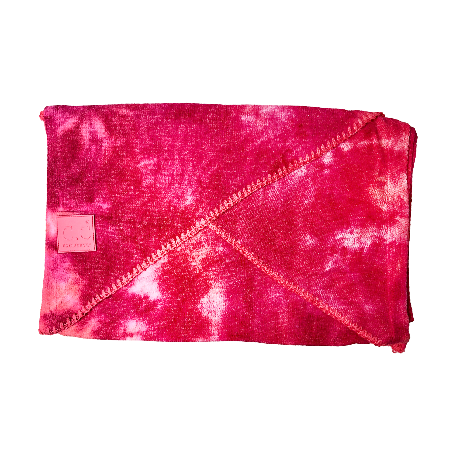 SF-7380 Tie Dye Scarf with C.C Rubber Patch - Fuschia/Pink