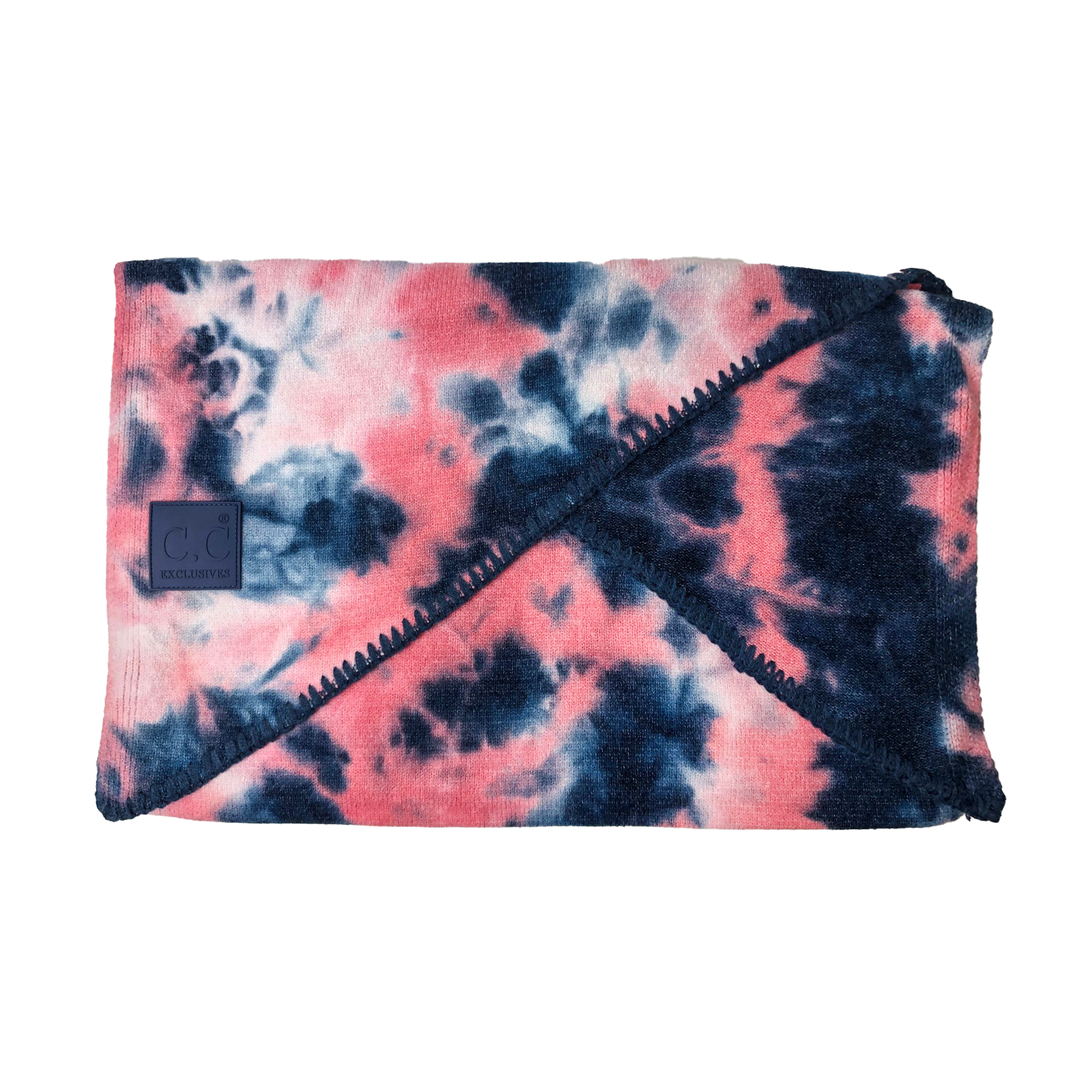 SF-7380 Tie Dye Scarf with C.C Rubber Patch - Navy/Pink