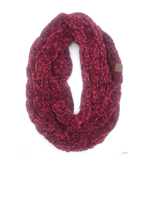 SF-30 BURGUNDY VELOUR SCARF
