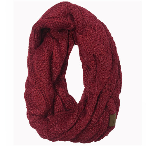 SF-800 Metallic Burgundy Infinity Scarf