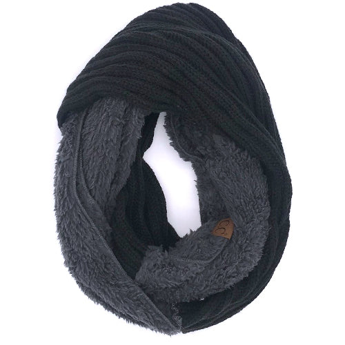 SF-88 Sherpa Infinity Scarf Black Grey