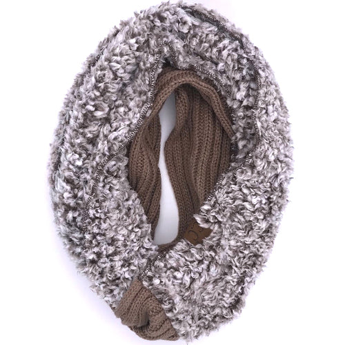 SF-88 Sherpa Infinity Scarf Taupe Heather