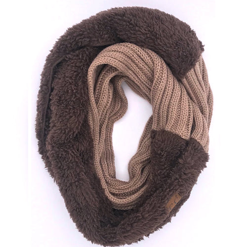 SF-88 Sherpa Infinity Scarf Taupe Brown