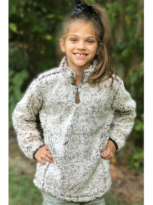 KIDS C.C SHERPA PULLOVER HEATHER BROWN
