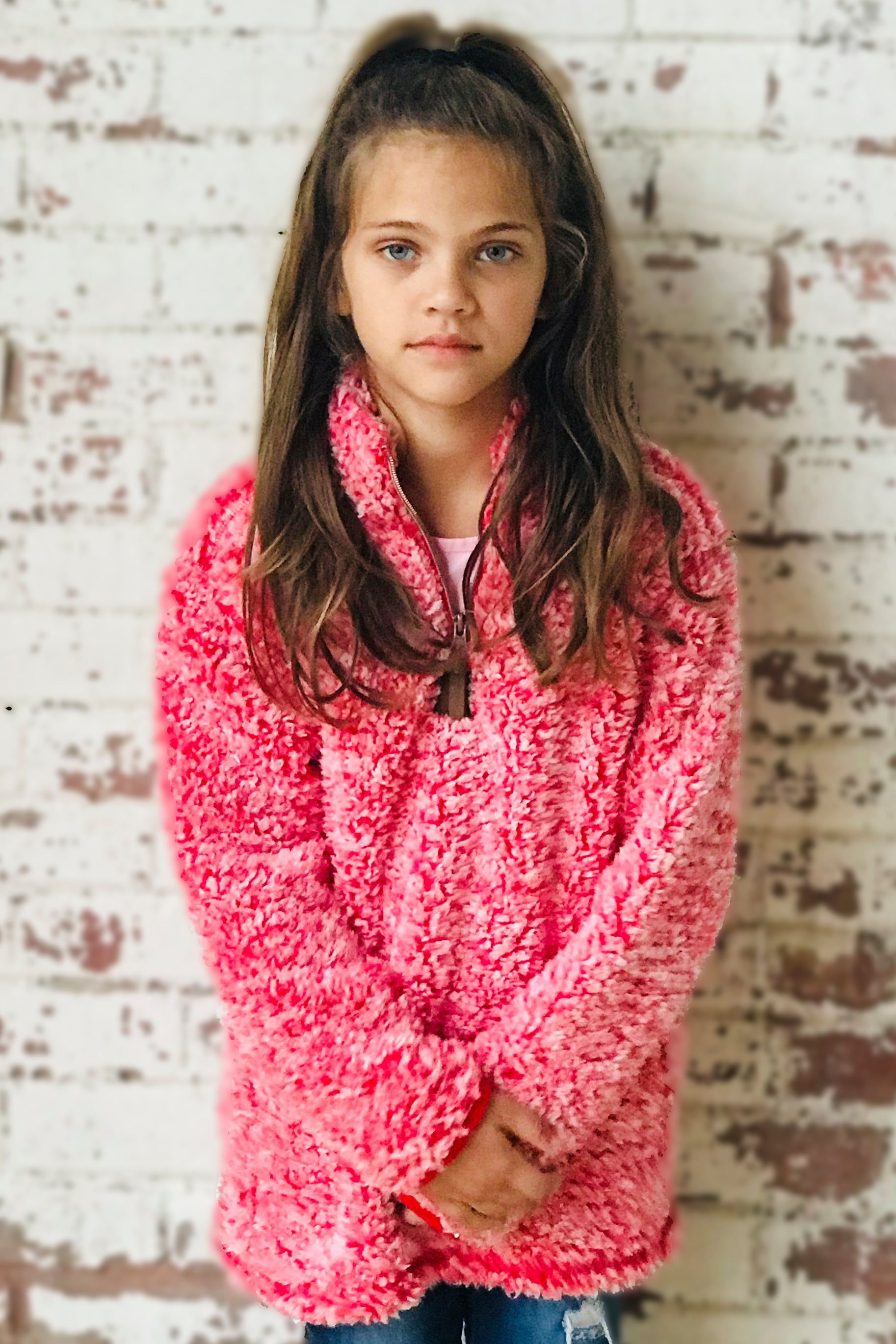 KIDS C.C SHERPA PULLOVER HEATHER RED