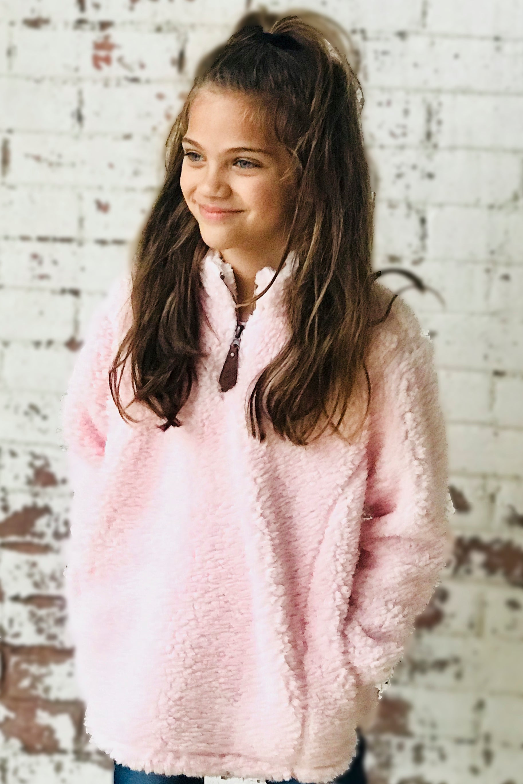 KIDS C.C SHERPA PULLOVER LIGHT PINK