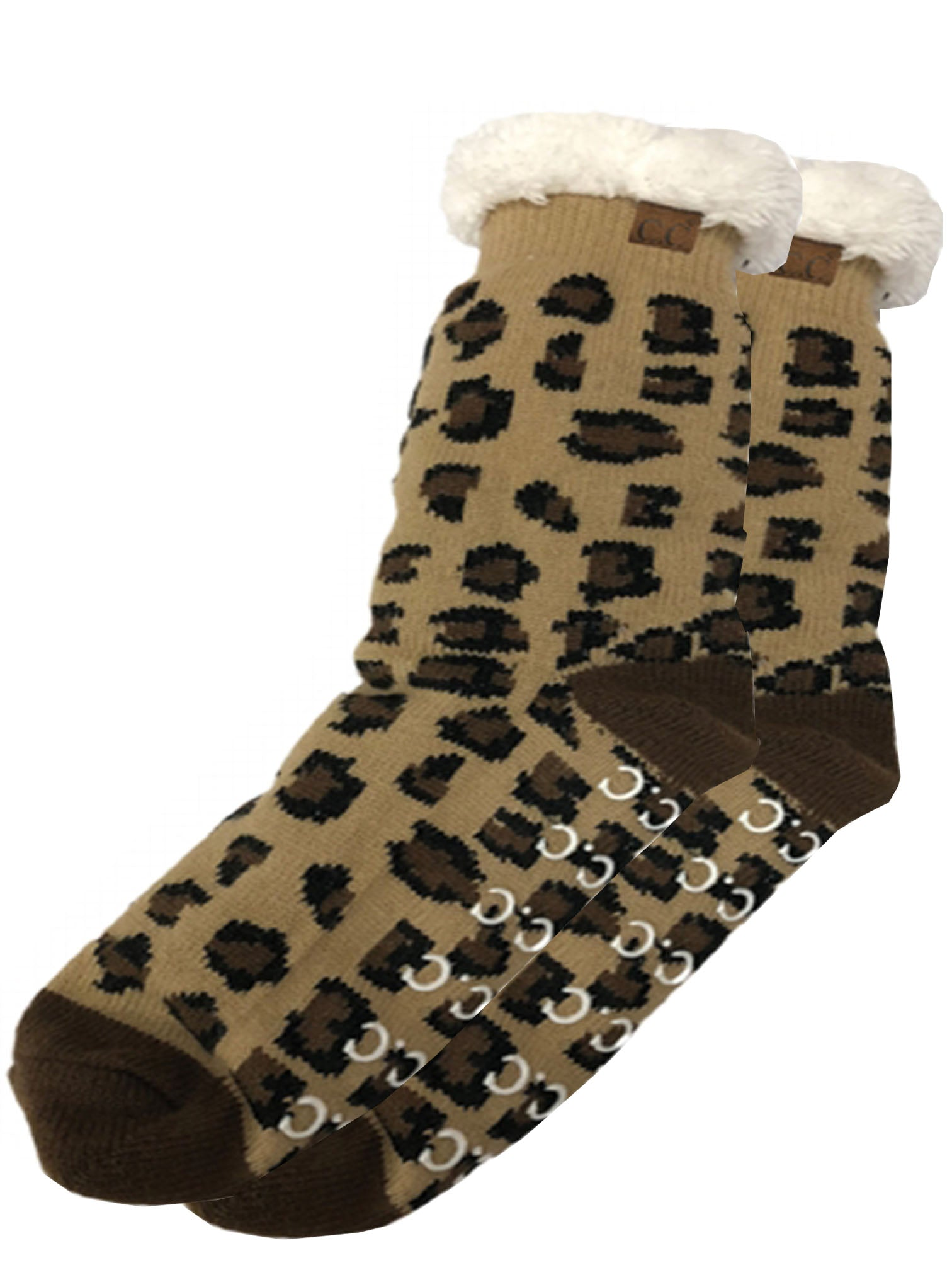 SL-05 C.C Sherpa Socks Leopard Brown