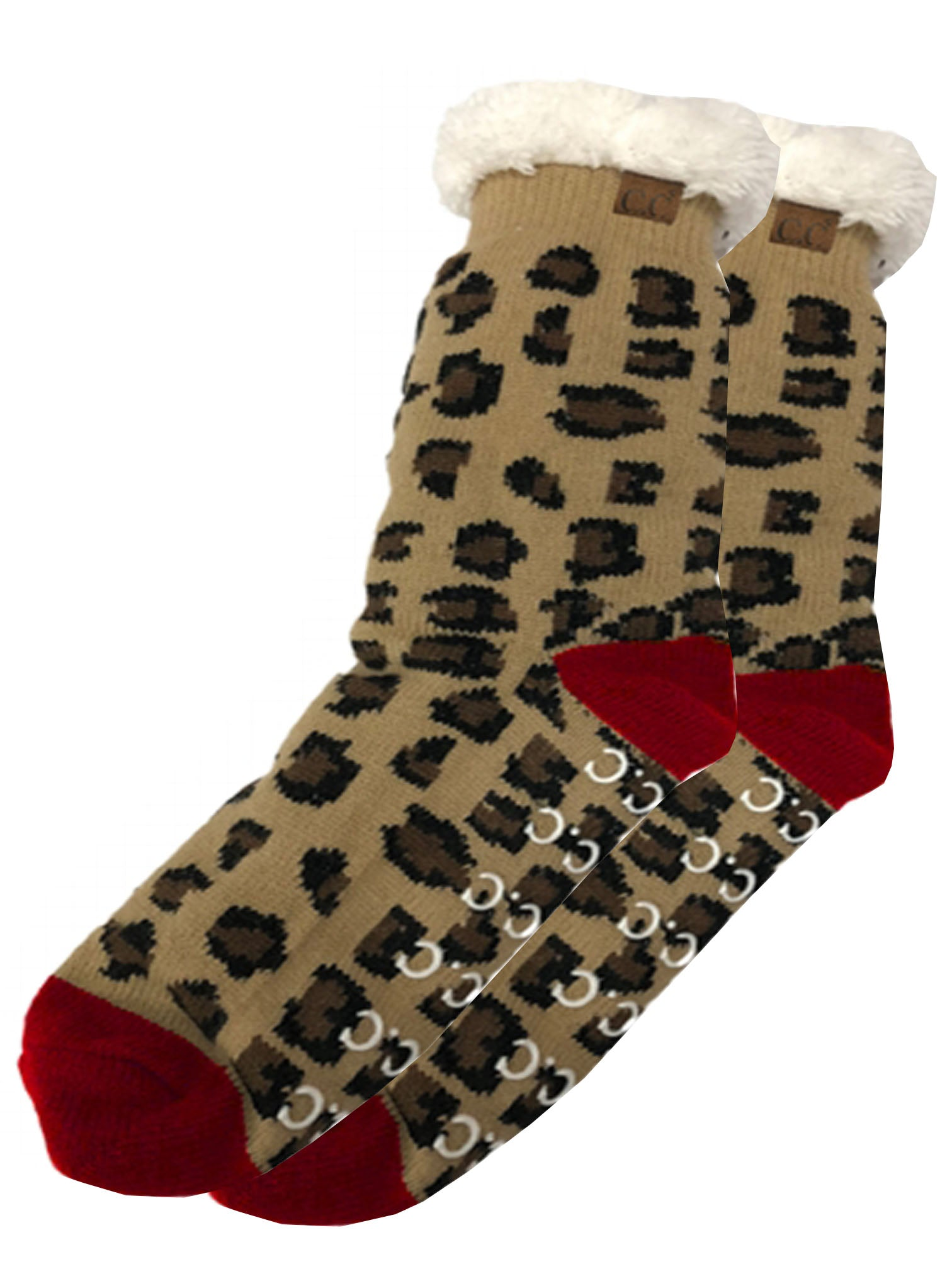 SL-05 C.C Sherpa Socks Leopard Red