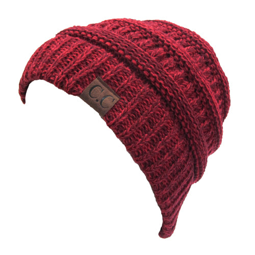 YJ-800 11 BURGUNDY TWO-TONE BEANIE