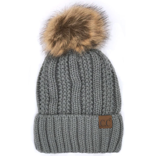 YJ-820 BEANIE W/FAUX FUR POM - NATURAL GREY