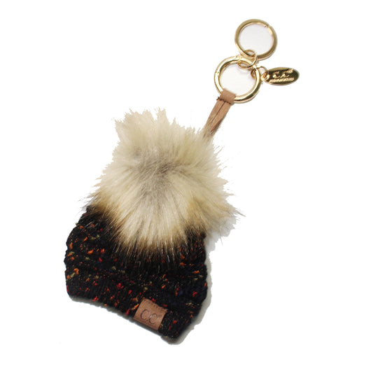 KB-33 Black Speckled Beanie Keychain