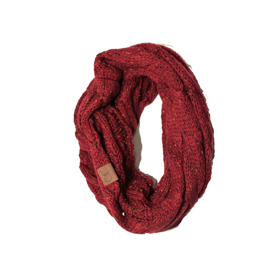 SF-33 Burgundy Speckled Infinity Scarf
