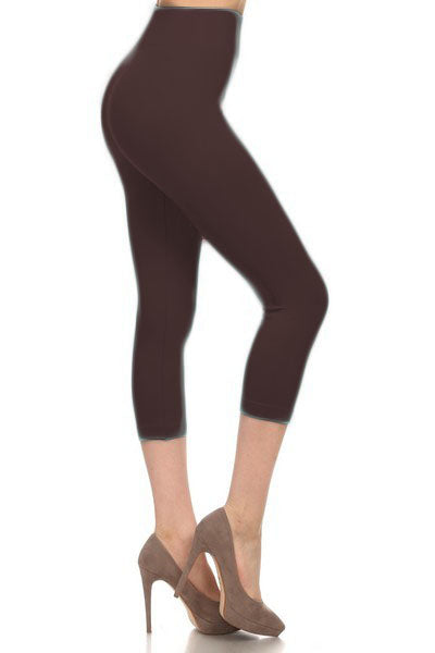 SML518SD-Coffee Capri Legging