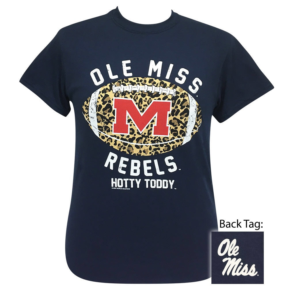 Ole Miss Rebel Leopard Football Navy Short Sleeve