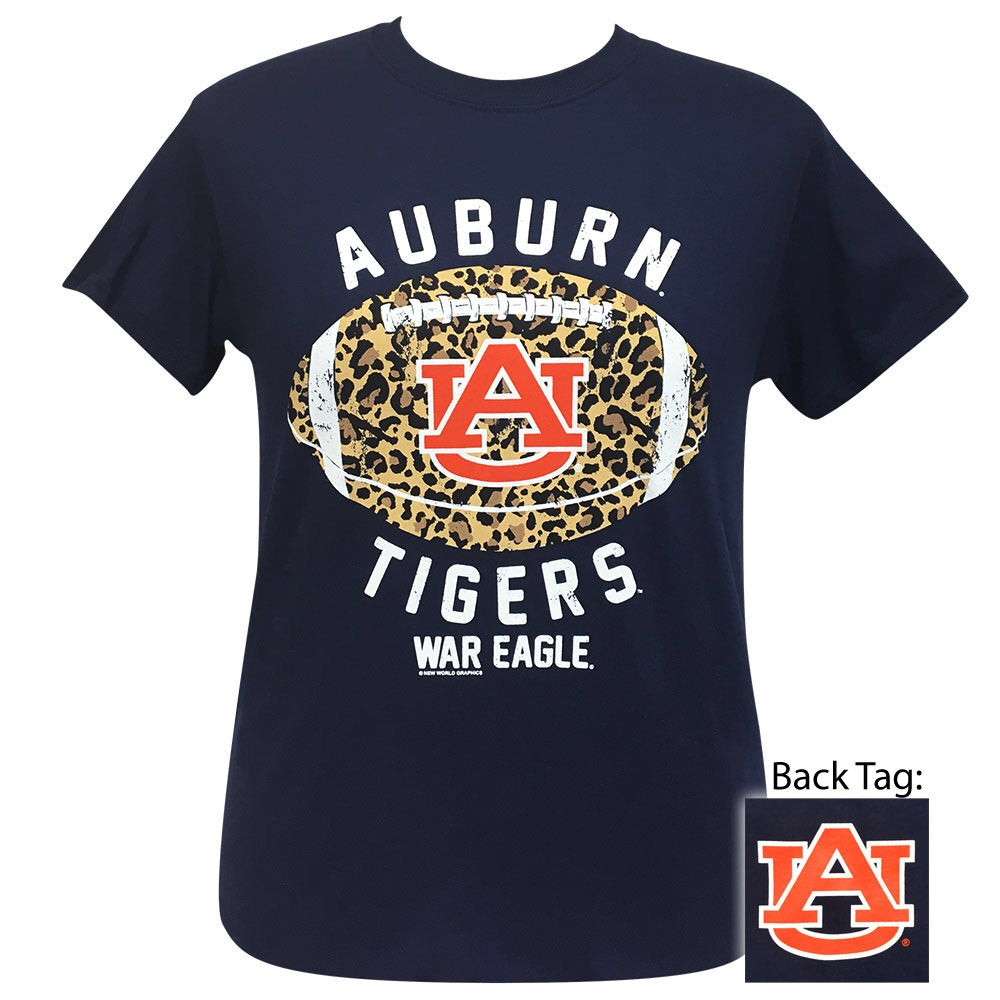 Auburn Leopard Football 069 Navy Short Sleeve