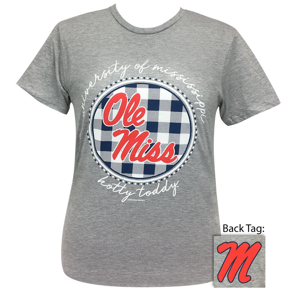 Ole Miss Buffalo Plaid Sport Grey- Short Sleeve