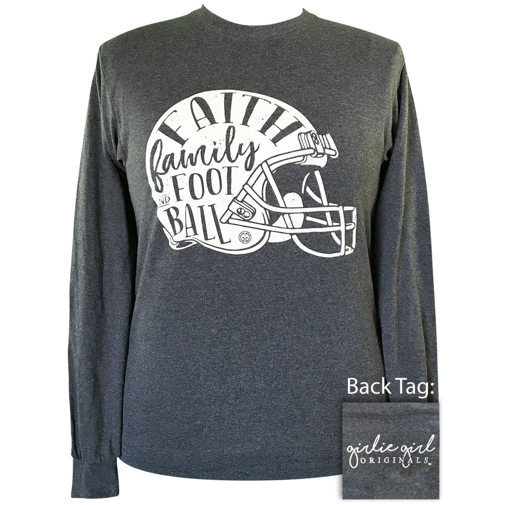 Faith Family Football-Dark Heather LS-2151