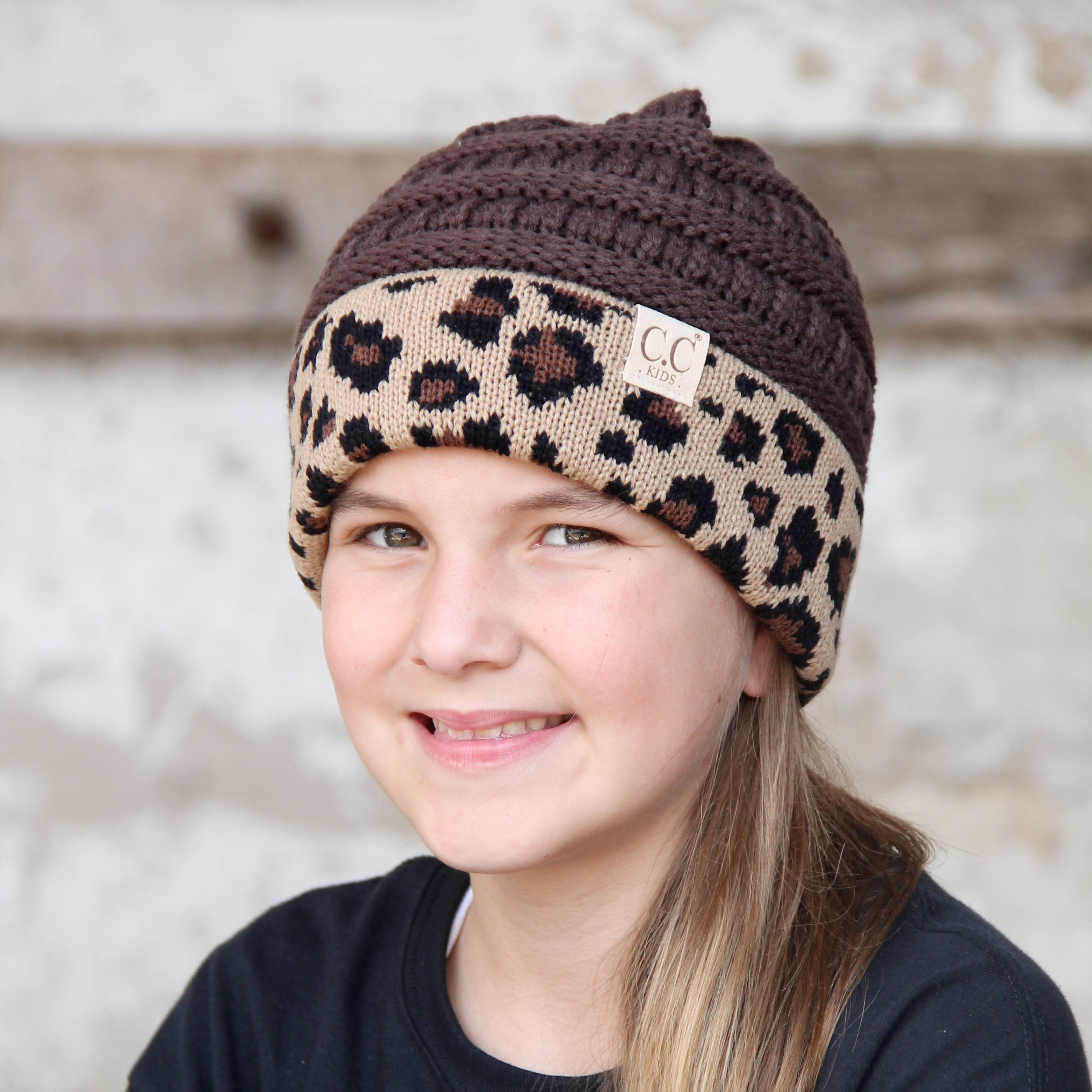 KID-45 Brown Leopard Youth Beanie