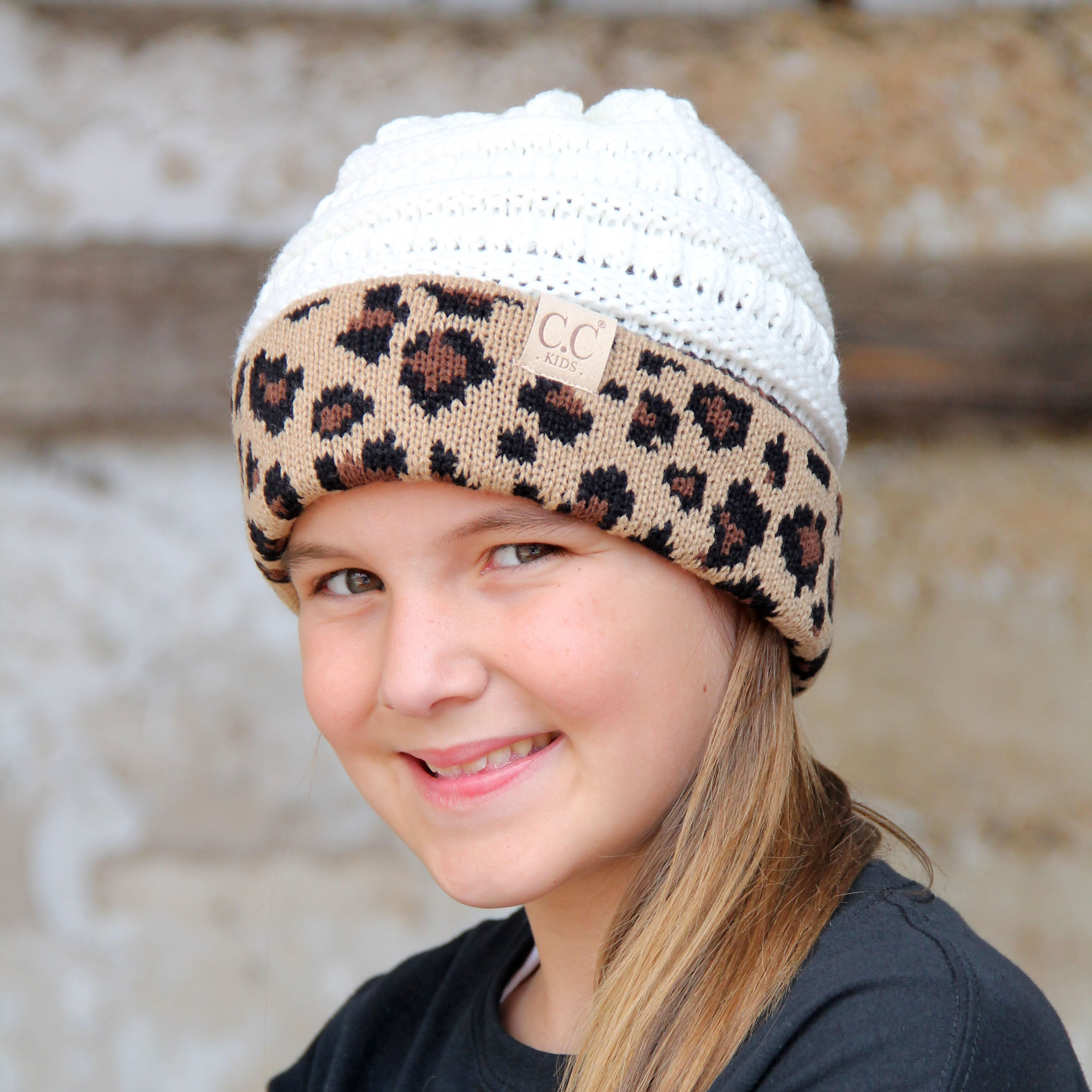 KID-45 Ivory Leopard Youth Beanie